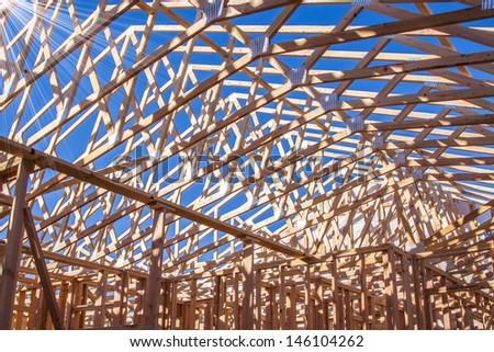 New residential construction home framing  - stock photo