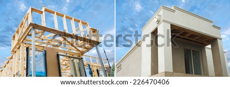 New residential construction home framing in development  against a blue sky - stock photo