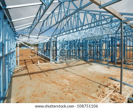 New residential construction home metal framing - stock photo