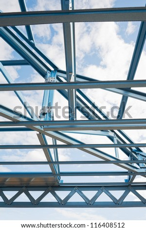New residential construction home metal framing.Fragment. - stock photo