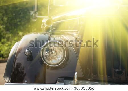new retro truck closeup with headlamp - stock photo