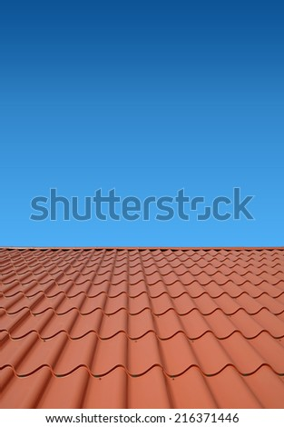 New roof with orange sheet metal and background of blue sky