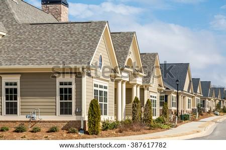 New Row Houses on street - stock photo
