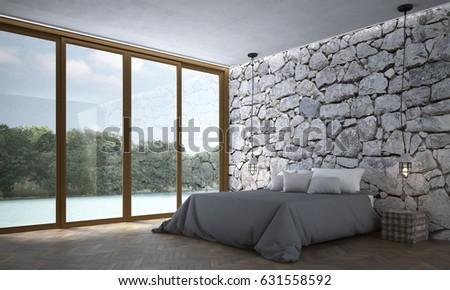 New Scene Interior Design 3D Rendering Of Stone Texture Wall Bedroom