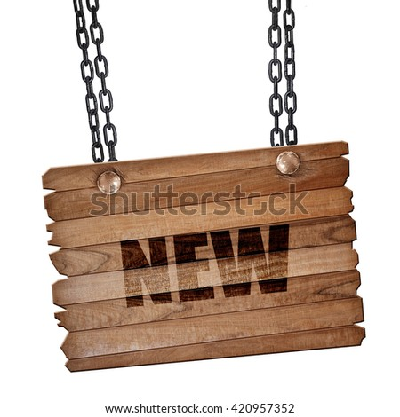 New sign background, 3D rendering, wooden board on a grunge chai