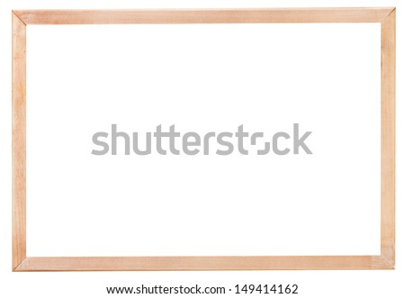 new simple narrow picture frame with cutout canvas isolated on white background - stock photo