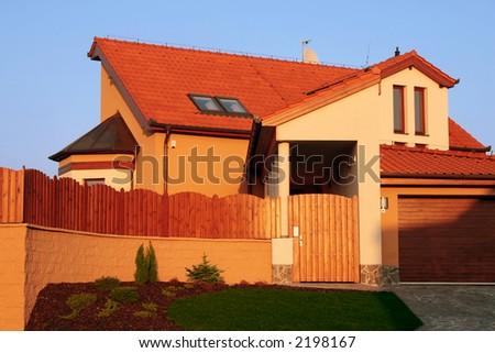 New single family brick luxury home. - stock photo