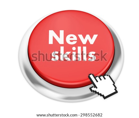 New Skills button on isolate white background - stock photo