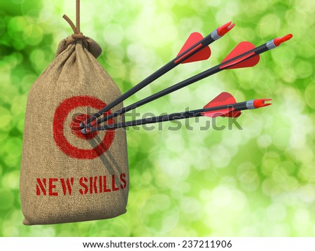 New Skills - Three Arrows Hit in Red Target on a Hanging Sack on Natural Bokeh Background. - stock photo
