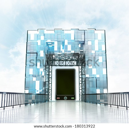new smart phone under grand entrance gateway building illustration - stock photo