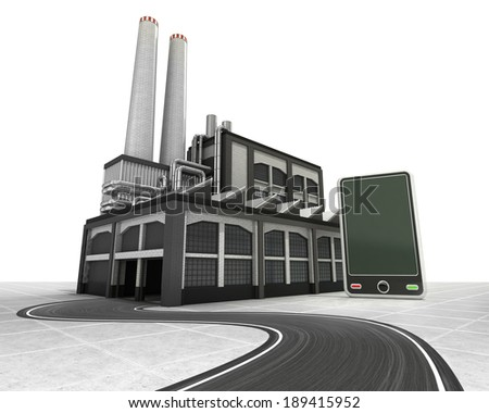 new smart phone with factory supply road concept illustration - stock photo