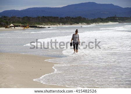 NEW SOUTH WALES, AUSTRALIA - DECEMBER 21, 2015: People  walking  on Byron Bay beach in New South Wales on December 21 , 2015, Australia