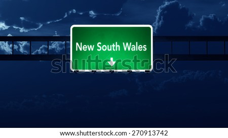 New South Wales Australia Highway Road Sign at Night 3D artwork - stock photo
