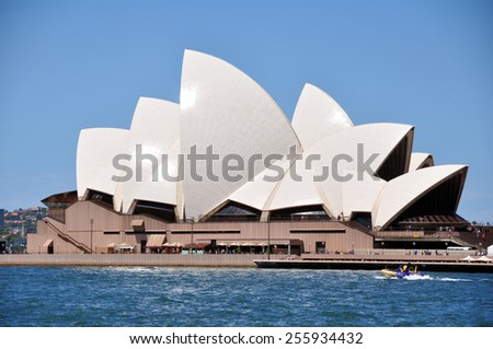 NEW SOUTH WALES, AUSTRALIA - JANUARY 24 : Sydney Opera House is a multi-venue performing arts centre at Sydney on January 24, 2015 in New South Wales, Australia. - stock photo