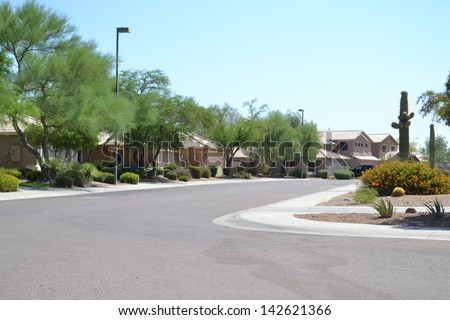 New Southwestern Style Arizona Neighborhood - stock photo