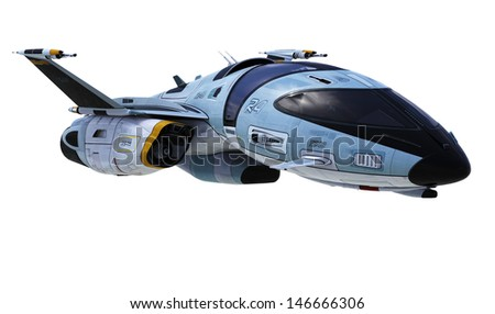 new space ship clouds reflection - stock photo