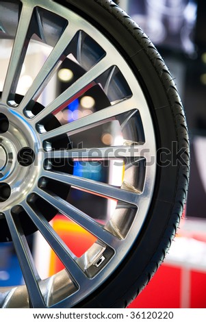 New Sport Tire With Alloy Wheel Disk - stock photo
