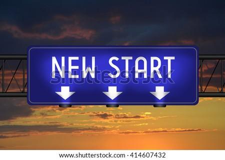New start street sign - stock photo