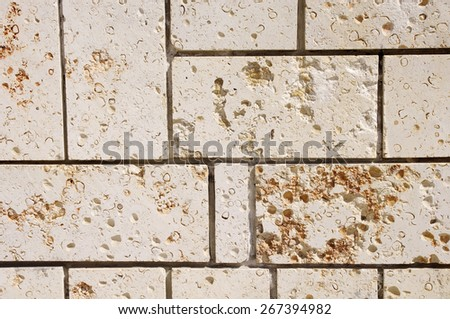 New stone cladding plates on  wall closeup  - stock photo