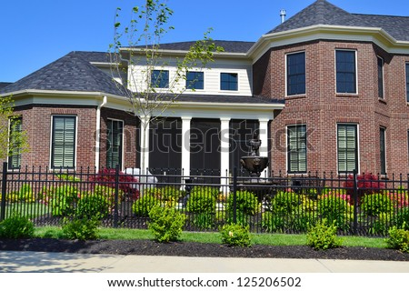 New Suburban American New England Style Dream Home - stock photo