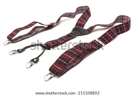 new suspenders on a white background - stock photo