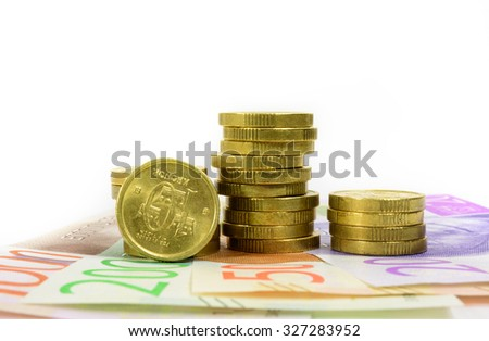 New swedish bank notes and coins - stock photo