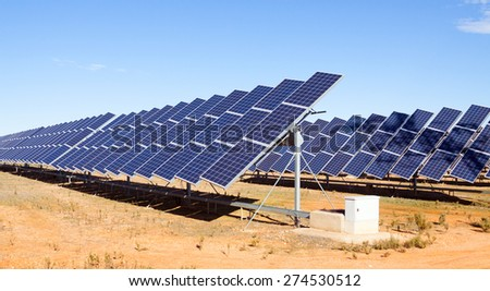 New technology of energy production:  solar panel systems - stock photo