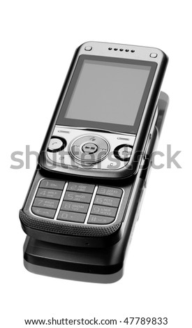 New technology smart phone. Silver mobile phone on white background with reflection - stock photo