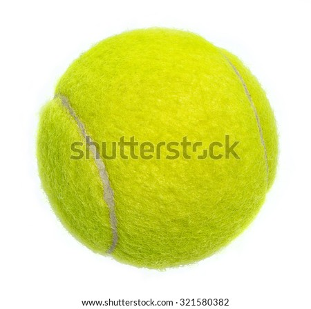 New tennis ball isolated on white background - stock photo