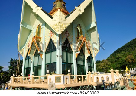 New Thai temple style and nice blue sky