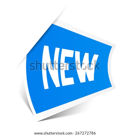 New Title on Blue Bent Sticker Isolated on White Background