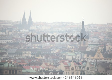 New Town Hall in Charles Square and Saint Ludmila Church viewed from Petrin Hill in Prague, Czech Republic. - stock photo