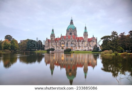 New Town Hall in Hanover, Germany in the morning - stock photo