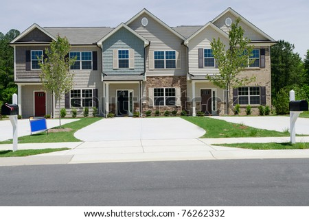 New townhouses for sale - stock photo