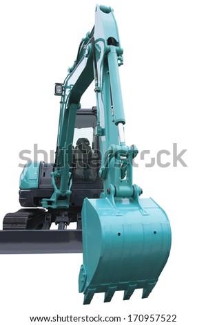 New tracked excavator isolated on white background - stock photo