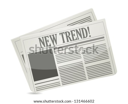 New Trend newspaper illustration design over white