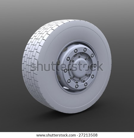 New Truck wheel on the gray background