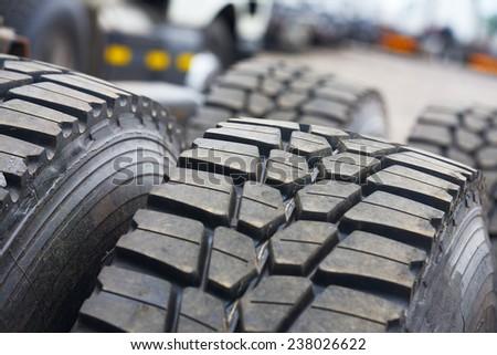 New truck wheels at close range - stock photo