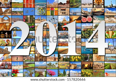 New two thousand fourteen on the Mediterranean vacation collage photos background  - stock photo