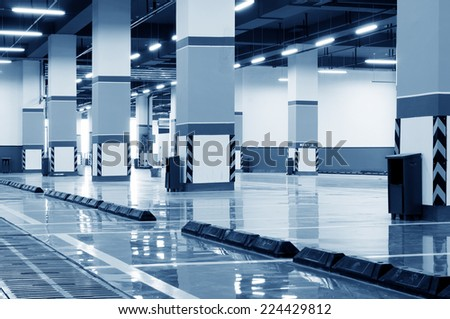 New underground car park - stock photo