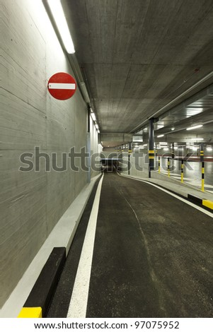 new underground parking, prohibition signal
