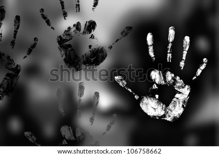new unknown handprint on the mystery background - stock photo