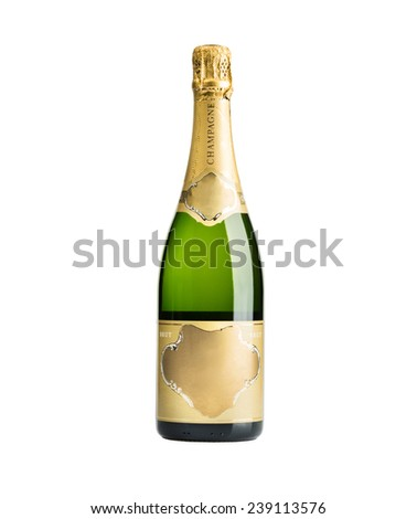 New unopened plain bottle of brut champagne isolated on white - stock photo