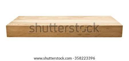 new unused wooden Board isolated on white background - stock photo
