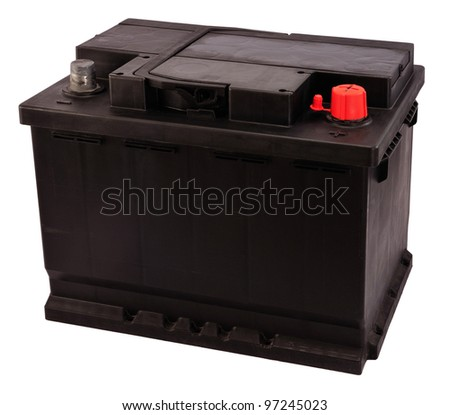 New 12V rechargeable car battery isolated on white (electrical charge: 56Ah). - stock photo