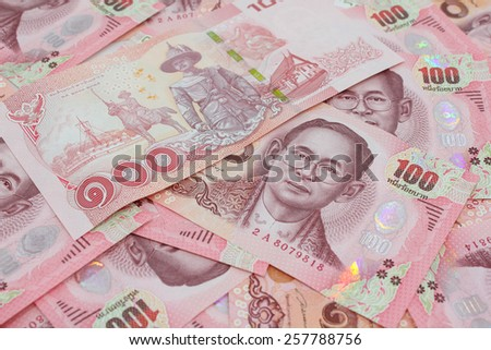 New version of hundred Thai bank notes  - stock photo