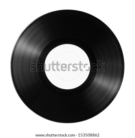 New vinyl record with empty label isolated on white - stock photo