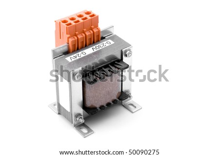 New voltage transformer, electronic part - stock photo