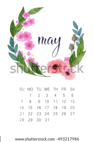 New watercolor calendar with floral wreath and hand lettering. Modern calligraphy poster. May 2017