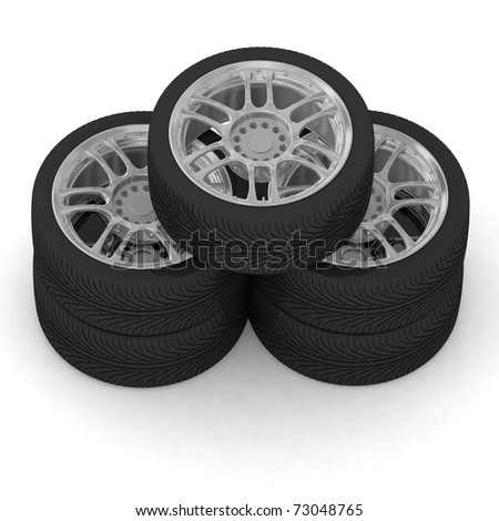 New wheels on white background